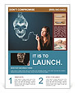 Pretty young woman smoking dangerous cigarette with toxic skull smoke Flyer Template