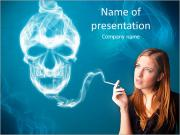 Pretty young woman smoking dangerous cigarette with toxic skull smoke PowerPoint Templates