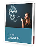 Pretty young woman smoking dangerous cigarette with toxic skull smoke Presentation Folder