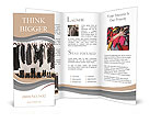 Female black and white clothes on a pole and shoes on a wooden floor. Brochure Templates
