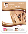Closeup of worried caucasian woman on white background. Horizontal shape, headshot Flyer Template