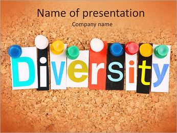 The word Diversity in cut out magazine letters pinned to a cork notice board PowerPoint Template
