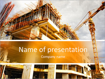 Construction site with crane and building PowerPoint Template