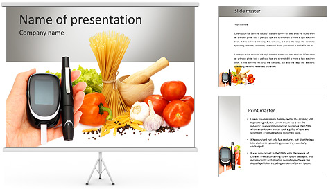 glucosemeter and healthy food powerpoint template  backgrounds id, Powerpoint