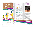 Family concept. Three colorful painted hands with smiling face of family, mother, father and baby. S Brochure Templates
