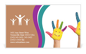 Family concept. Three colorful painted hands with smiling face of family, mother, father and baby. S Business Card Templates