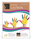 Family concept. Three colorful painted hands with smiling face of family, mother, father and baby. S Flyer Template