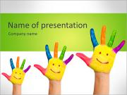 Family concept. Three colorful painted hands with smiling face of family, mother, father and baby. S PowerPoint Template