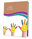 Family concept. Three colorful painted hands with smiling face of family, mother, father and baby. S Presentation Folder