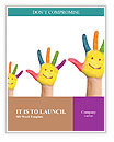 Family concept. Three colorful painted hands with smiling face of family, mother, father and baby. S Word Templates