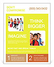 School kids group, over white Flyer Template