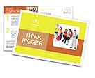 School kids group, over white Postcard Template