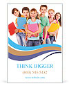 Group of happy teen school child with book. Isolated. Ad Templates