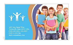 Group of happy teen school child with book. Isolated. Business Card Template