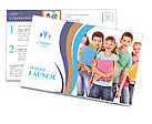 Group of happy teen school child with book. Isolated. Postcard Templates