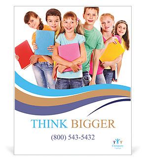 Group of happy teen school child with book. Isolated. Poster ...