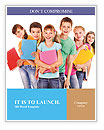 Group of happy teen school child with book. Isolated. Word Template