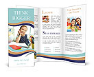 Portrait of lovely girl looking at camera while drawing Brochure Template