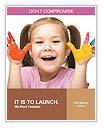 Portrait of a cute cheerful girl showing her hands painted in bright colors, isolated over white Word Templates
