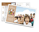 Crowd of children, sitting together happily Postcard Template