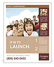 Crowd of children, sitting together happily Poster Template
