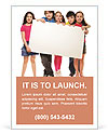 Group of school aged teen boys and girls, showing blank placard board to write it on your own text i Ad Template
