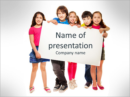 Teen powerpoint template smiletemplates powerpoint template download group of school aged teen boys and girls showing blank placard board to write it toneelgroepblik Images