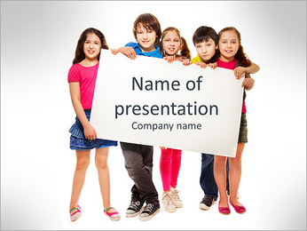 Group of school aged teen boys and girls, showing blank placard board to write it on your own text i PowerPoint Template