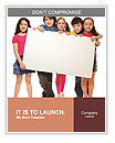 Group of school aged teen boys and girls, showing blank placard board to write it on your own text i Word Templates