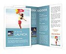 Happy girl holding bunch of colorful air balloons at the beach Brochure Templates