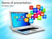 Компьютер мобильность, интернет связь и концепция облачных вычислений: белый ноутбук с облаком сотрудничества Шаблоны презентаций PowerPoint