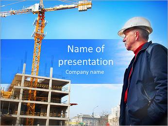 Construtor trabalhador inspetor verificando um canteiro de obras trabalha Modelos de apresentações PowerPoint