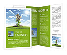 Bush of dollar bills on the green grass against the blue sky. Concept. Brochure Templates