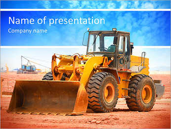 Bulldozer on a building site PowerPoint Template