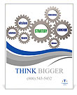 Strategy and business concept words in 3d silver grey gearwheels Poster Templates
