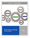 Strategy and business concept words in 3d silver grey gearwheels Word Templates