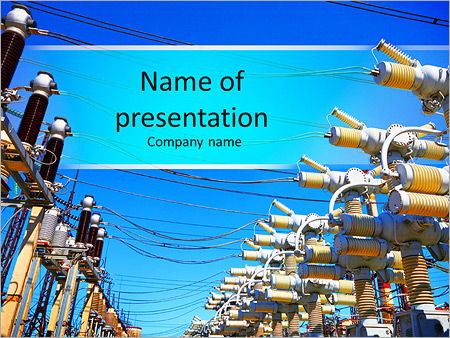electric substation in a bright sunny day powerpoint template, Presentation templates