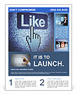 Screen with Like button and hand-shaped cursor, 3d render Flyer Template