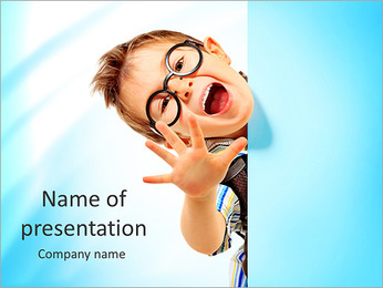 Portrait of a little boy in spectacles with white board. Isolated over white background. PowerPoint Template