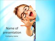 Portrait of a little boy in spectacles with white board. Isolated over white background. PowerPoint Templates