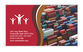 Lot's of cargo freight containers in the Hong Kong sea port. Business Card Template