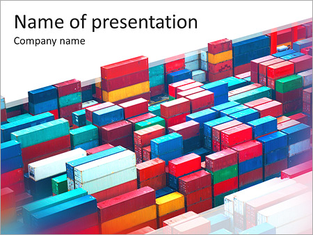 lot's of cargo freight containers in the hong kong sea port, Modern powerpoint