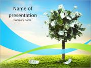 Photo of tree made of dollars PowerPoint Templates