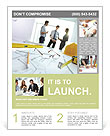 Image of engineering objects on workplace with three partners interacting on background Flyer Template