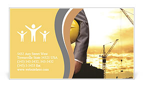 Engineer yellow helmet for workers security on the background of a new high-rise apartment buildings Business Card Templates