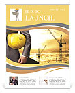 Engineer yellow helmet for workers security on the background of a new high-rise apartment buildings Flyer Template