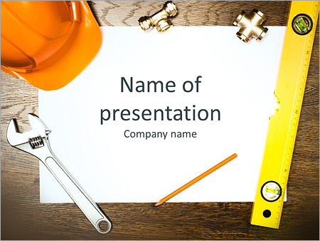 Plumbing works powerpoint template, backgrounds & google slides.