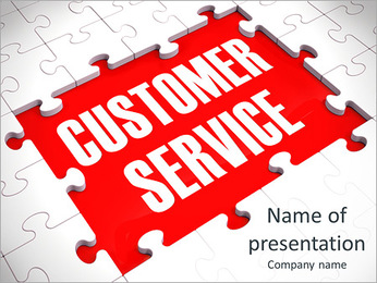 Customer Service Puzzle Showing Support, Assistance And Help PowerPoint Template