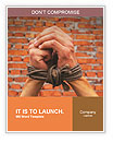Hands tied up with rope against brick wall Word Templates