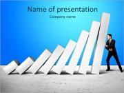 Man keeps falling white columns PowerPoint Templates